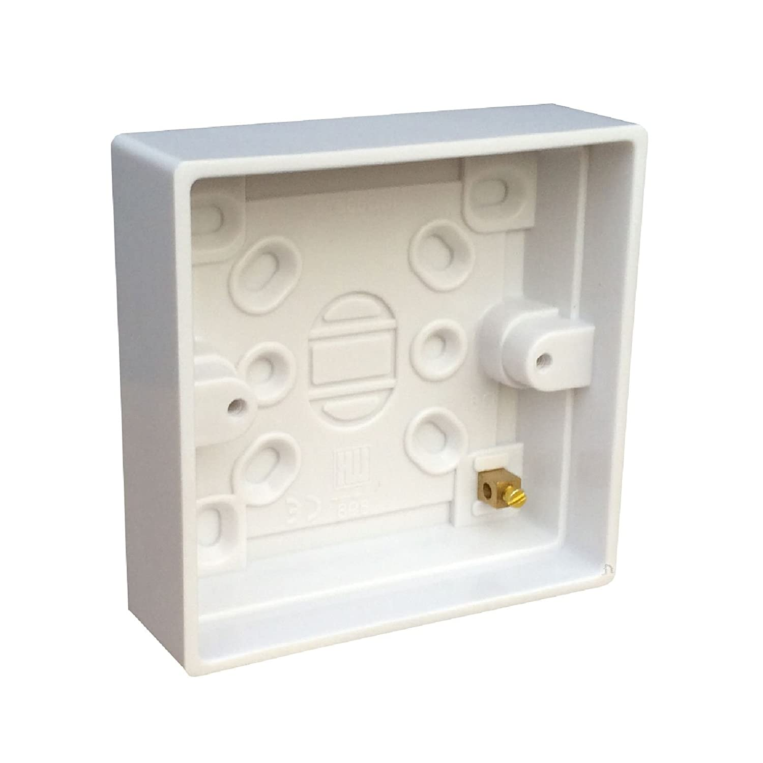 Surface Mounted Back Box 24mm Wall Pattress Single 1 Gang Electrical Socket Red and Grey