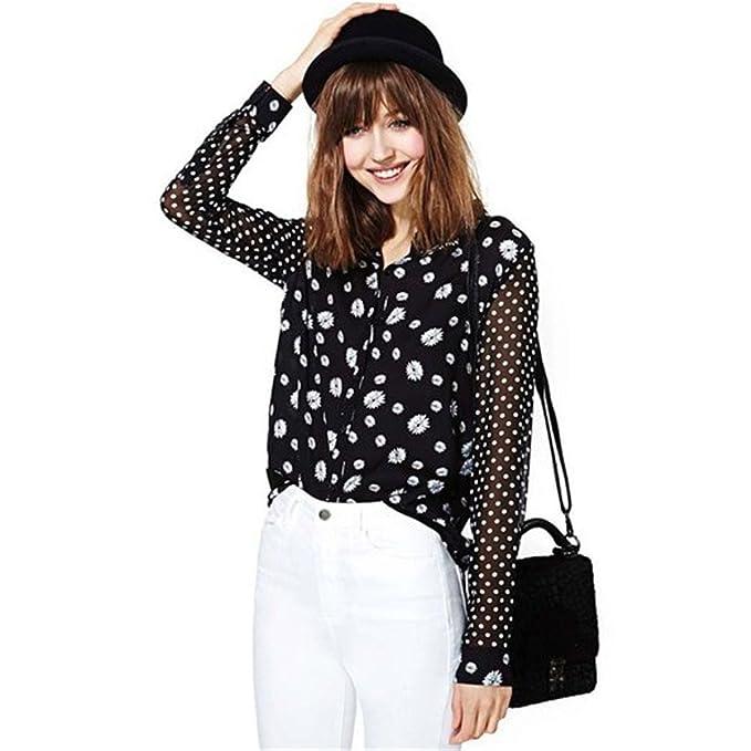Elegent Tailloday sudadera con capucha para mujer con diseño de margaritas y de silicona y de solapa blusa de chifón de puntos camisetas camisas: Amazon.es: ...