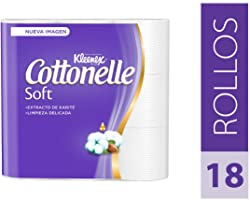 Kleenex Cottonelle Soft, Papel Higiénico, color Blanco, 18 Rollos