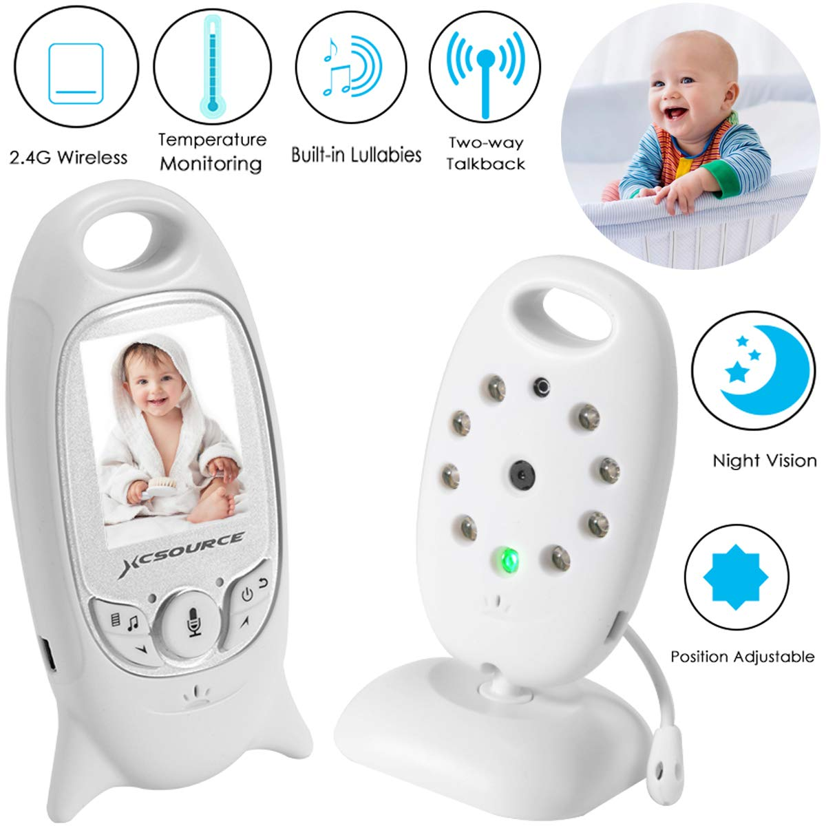 XCSOURCE Baby Monitor 2.4 GHz Wireless Digital Video Baby Monitor with Camera, 2 Way Talk Back Audio, Night Vision, Temperature Sensor, Built-in Lullabies, Large LCD Screen