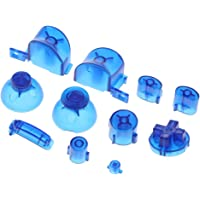 MagiDeal Replacement ABXYZ Buttons + Thumbsticks Chrome D-pad Mod Set for Nintendo NGC Blue