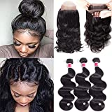 Wigirl Hair 7A Grade 360 Lace Frontal Closure with Bundles Brazilian Body Wave Hair Bundles with 360 Lace Frontal Unprocessed Human Hair Bundles with Frontal (14 16 18+12 360frontal, Natural Color)