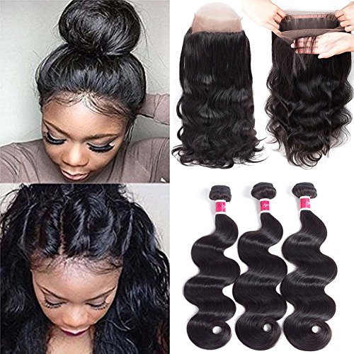 Wigirl Hair 7A Grade 360 Lace Frontal Closure with Bundles Brazilian Body Wave Hair Bundles with 360 Lace Frontal Unprocessed Human Hair Bundles with Frontal (14 16 18+12 360frontal, Natural Color) by Wigirl Hair
