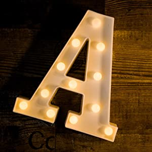 Yoaky LED Marquee Letter Lights Sign 26 Alphabet Light Up Marquee Letters Sign for Night Light Wedding Birthday Party Battery Powered Christmas Lamp Home Bar Decoration (A)