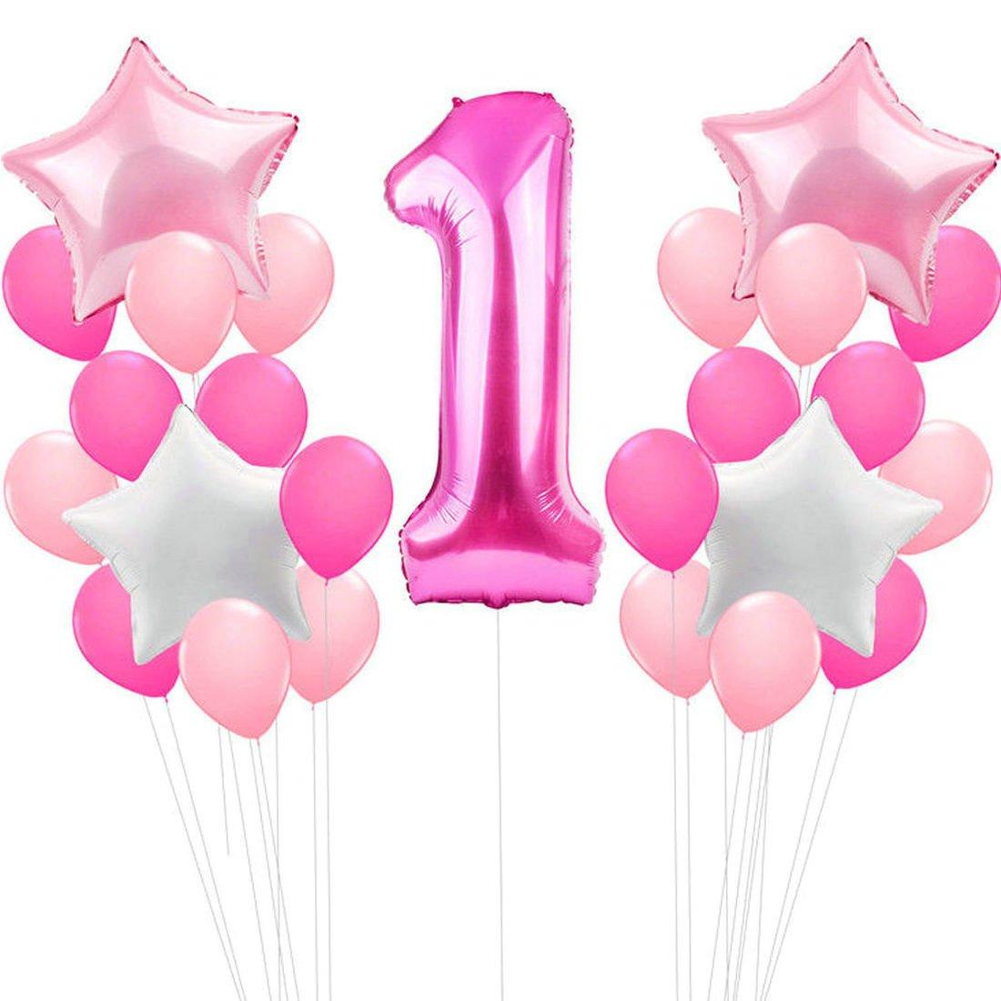 Zcoins 1er Anniversaire Décoration pour Fille, 100cm Grand Numéro Ballon 1, 30pcs Ballons en Latex, 4pcs Étoiles Feuille Ballons Rose et Blanc