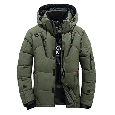 e5281baba87 Amazon.com: Mens Winter Warm Hooded Down Jacket,Casual Outdoor Windproof  Zipper Coat Outwear Top Blouse Plus Size: Clothing