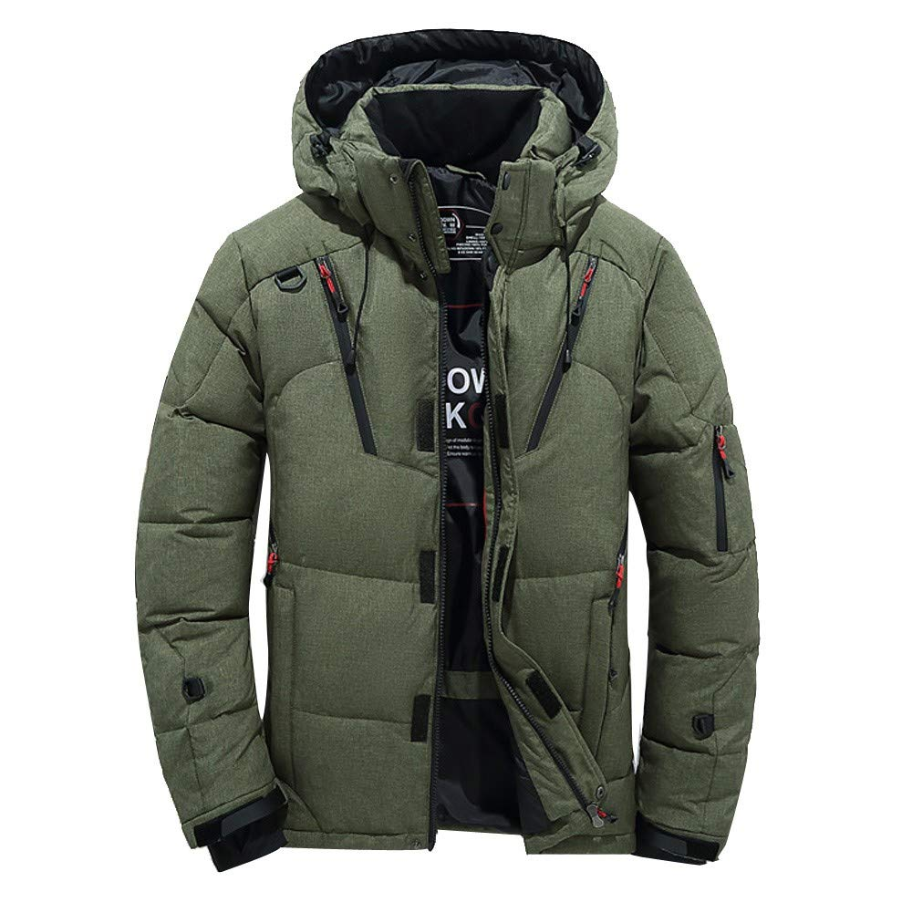 Goose Down Jacket Men Waterproof.Men Boys Casual Warm Hooded Winter Zipper Coat Outwear Jacket Top Blouse