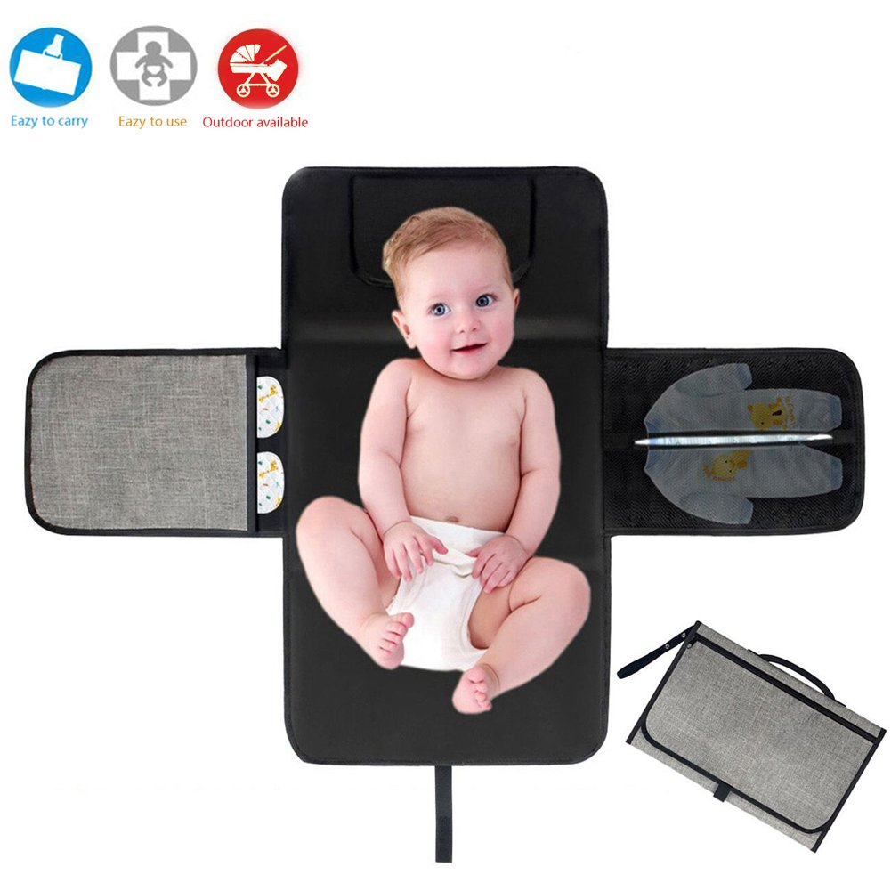 Portable Nappy Changing Mat, Waterproof Foldable Baby Changing Kit Soft Pillow Travel Diaper Pad Keep Baby Clean for Home Travel Outside Cuker