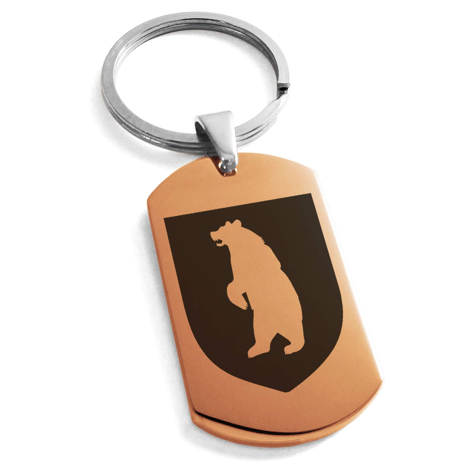 Tioneer Rose Gold Stainless Steel Bear Ferocity Coat of Arms Shield Symbol Engraved Dog Tag Keychain Keyring
