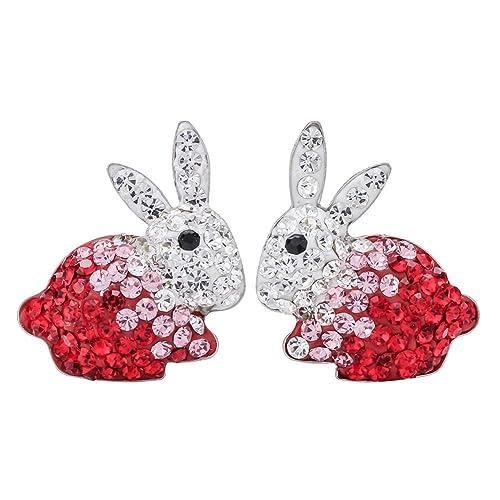c7712688f Szxc Jewelry 925 Sterling Silver Crystal Bunny Stud Earrings for Women Girls