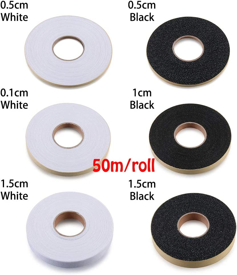 0.5cm-50m,White ARRIVEOK 50m//roll Double-Sided Hem Tape Sewing Roll Web Apparel Interlining Iron On Adhesive Fabric