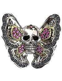 SUM Jewelry Zen Garden Butterfly Skull Ring Women Unique Gothic Pink Gemstone Crystal Rings (5)
