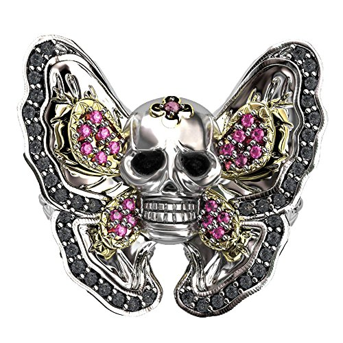 EVBEA Class Butterfly Skull Ring Gothic Big Statement Black Crystal Girls Rings (Black Butterfly Ring)