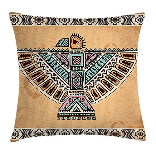 SPXUBZ Aztec Tribal Vintage Native American Folk Symbols Bird Figure with Open Wings Pillow Cover Home Decor Nice Gift Square Indoor Pillowcase Size: 18x18 Inch(Two Sides) ()