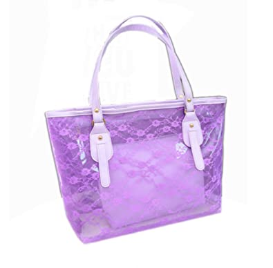 50034d35e9 Women Semi-Clear Beach Tote Bag Transparent Large Swim Handbag ...