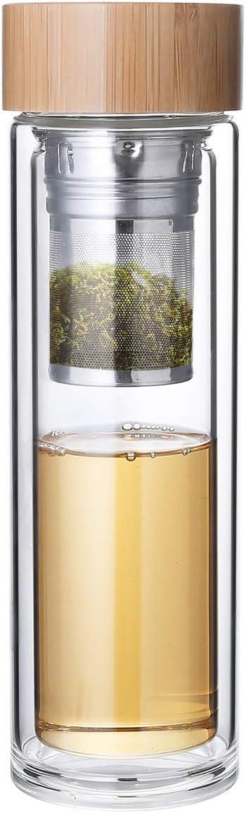 Diller Botella de Agua Cristal de borosilicato Transparente, 380 ml, té H409