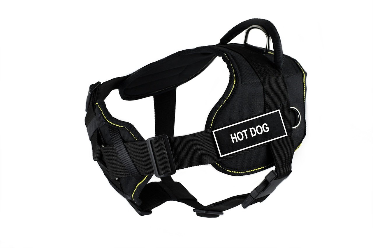 Dean & Tyler 28 to 34-Inch Hot Dog Fun Harness with Padded Chest Piece, Medium, Black with Yellow Trim