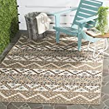 Cheap Safavieh Veranda Collection VER095-0215 Indoor/Outdoor Cream and Brown Contemporary Southwestern Area Rug (4′ x 5'7″)