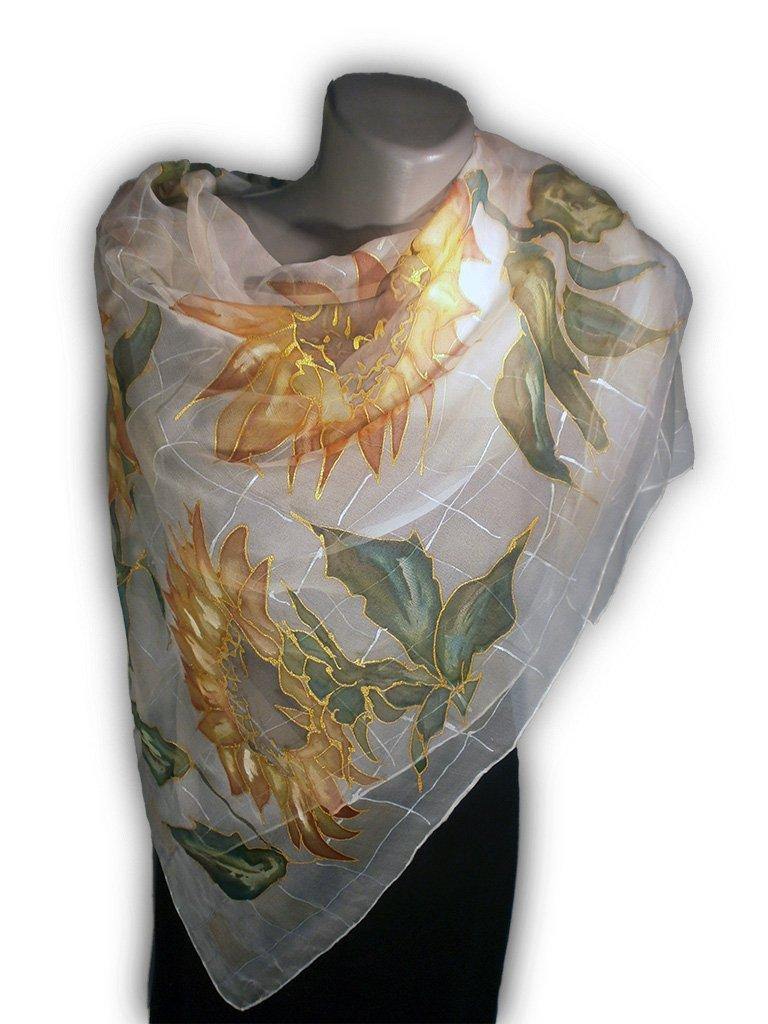 SUNNY MOOD Hand Painted Silk Scarf