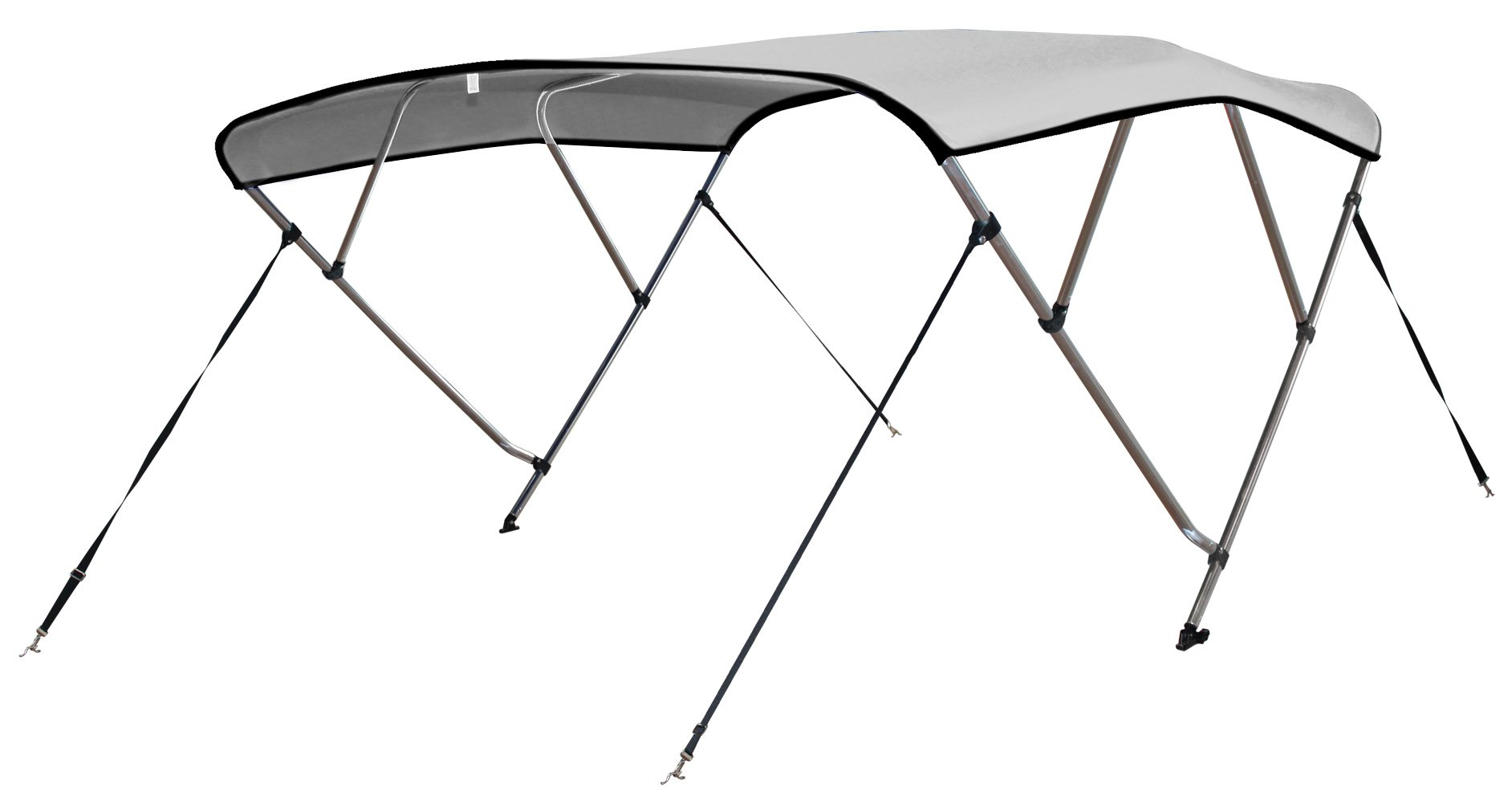 Leader Accessories 4 Bow White 8'L x 54'' H x 61''-66'' W Bimini Tops Boat Cover 4 Straps for Front and Rear Includes Mounting Hardwares with 1 Inch Aluminum Frame by Leader Accessories