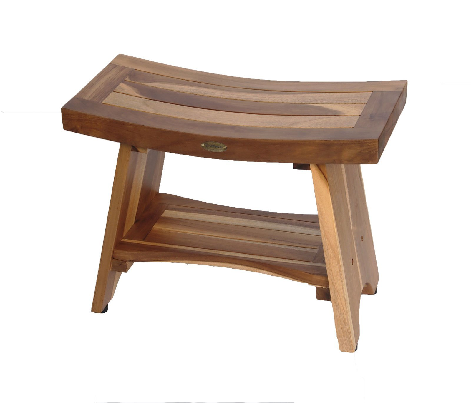 Earthy Teak™-Serenity with Shelf Eastern Style 24''- Shower Sitting, Storage, Shaving Foot Rest