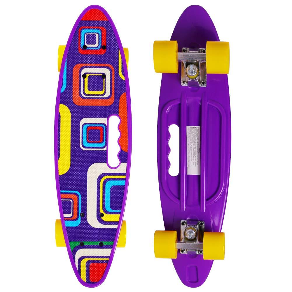 Merkapa Complete 22 inch Fishtail Cruiser Skateboard for Youth, Beginners (Purple)