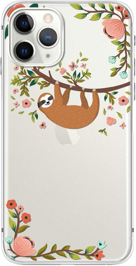 """iPhone 11 Pro Max (6.5 inch) Case,Blingy's Animal Style Transparent Clear Soft TPU Protective Case Compatible for iPhone 11 Pro Max 6.5"""" 2019 Release (Hanging Sloth)"""