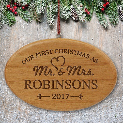GiftsForYouNow Engraved Our First Christmas Wood Oval Ornament - Mr & Mrs, 4