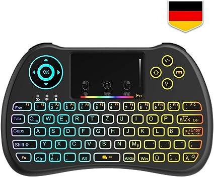 TECBOSS Mini teclado inalámbrico iluminado con panel táctil para Smart TV, HTPC, IPTV, TV Box y PC Negro: Amazon.es: Informática