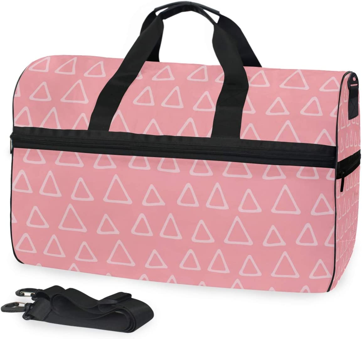 FAJRO Duffle Bag for Women Men Pink Triangle Travel Duffel Bag Large Size Water-proof Tear Resistant