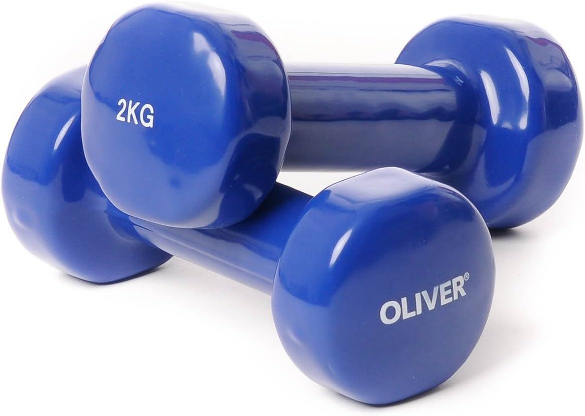 Oliver - Mancuernas, para entrenamiento de m/úsculos, gimnasia, de vinilo, juego de 0,5 a 5 kg, g azul 2 x 2,0 kg