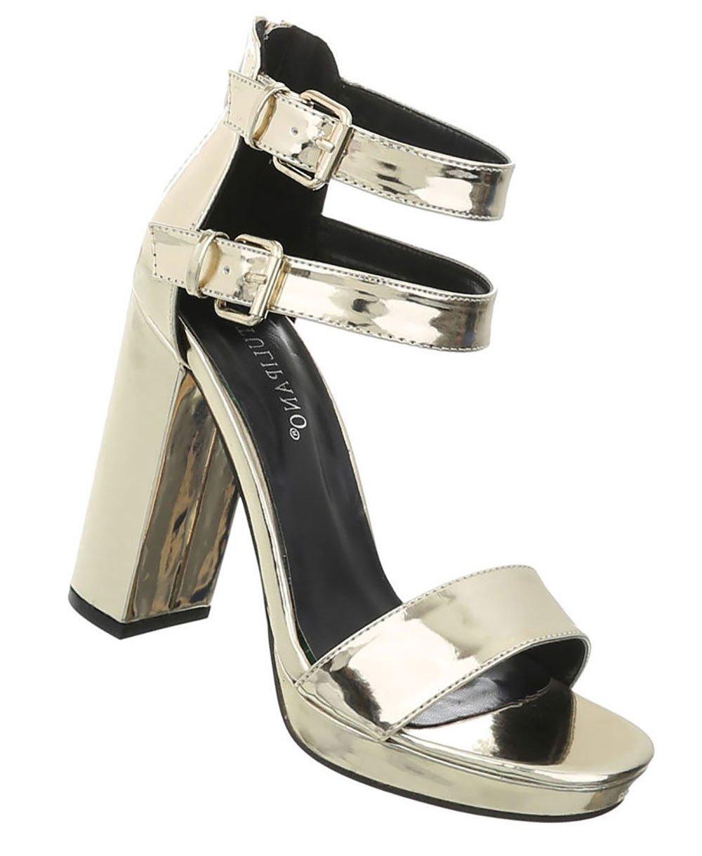 Damen Schuhe Sandaletten High Heels Plateau Pumps Abendschuhe Partyschuhe Clubschuhe Gold 38 Gd4TyujI