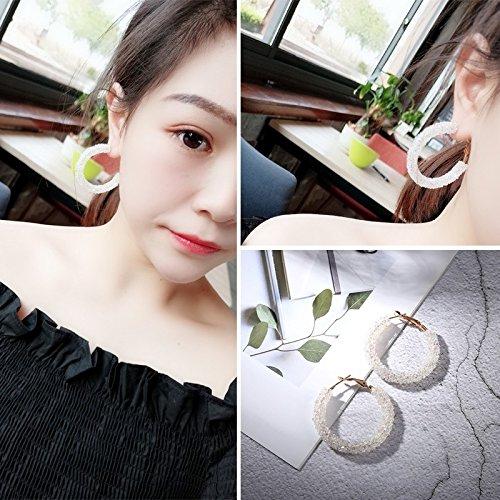 HJPRT korea trend earrings earings dangler eardrop creative personality ultra-thin women girls fairy woman face significant gift necklace pendant long (0719- diamond circle