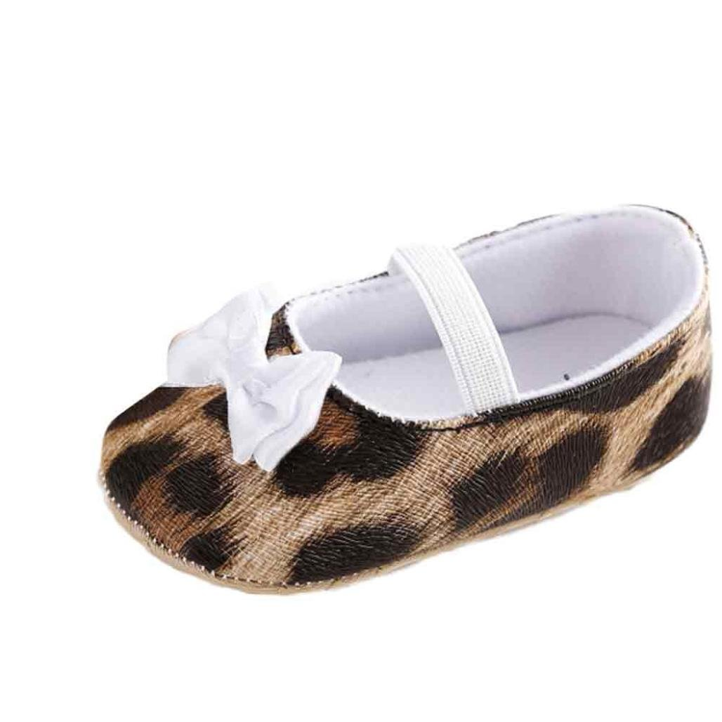 Gotd Newborn Baby Girl Leopard Bowknot Cotton Soft Sole Crib Shoes