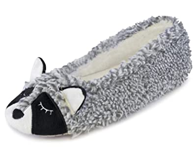 Ladies Novelty Animal Grey Raccoon Cosy Knitted Ballerina Slippers in 3 UK Sizes