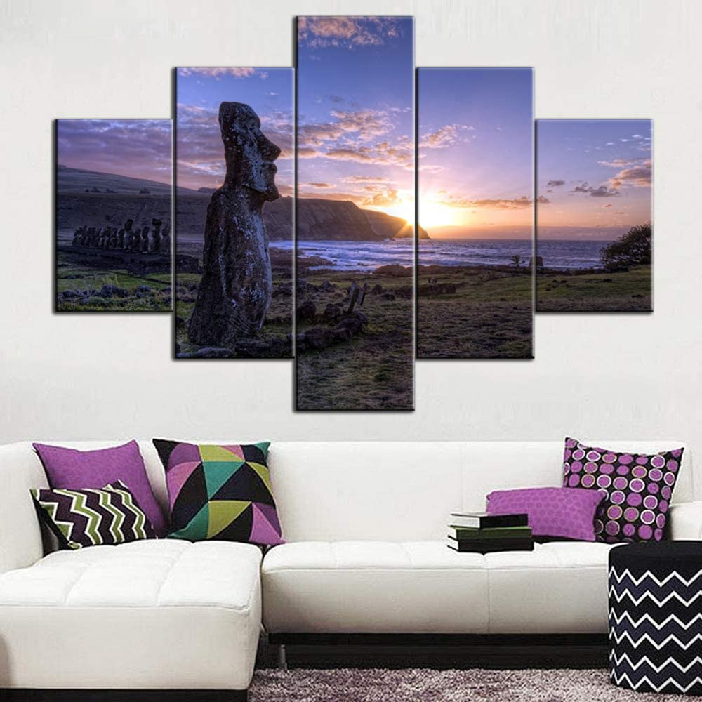 Large 5 Panels Easter Island Landscape Photos for Office Cafe Living Room Wall Decoration Moai Monuments Statue Scenery Modern Home Decor Canvas Art Framed Ready to Hang - 60