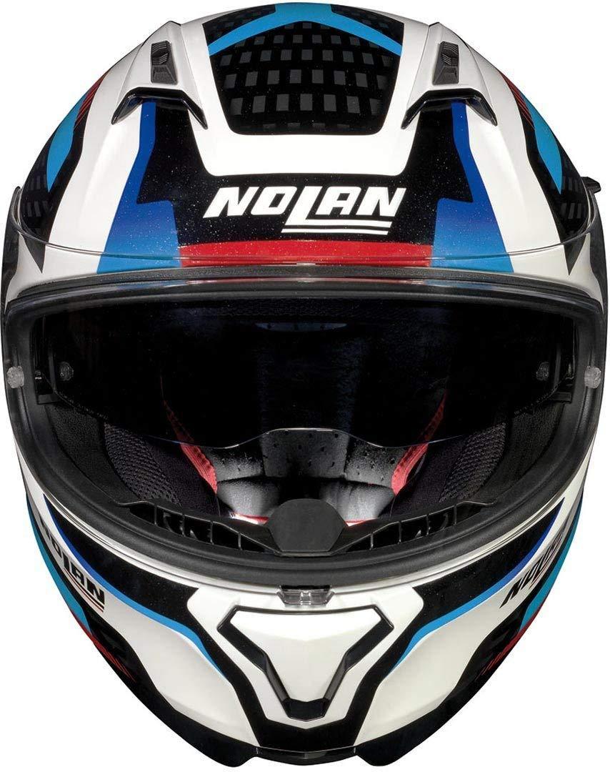 Nolan N87 ARKAD N-COM 040 METAL BLANCO AZUL ROJO M