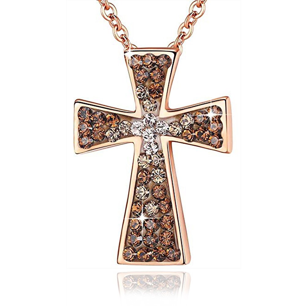 Esottia ''The Jesus Prayer Angel Criss Cross Necklace Made with Swarovski Crystals Brown Pedant Jewelry Birthday Wedding Anniversary for Girlfriend Wife Mother Daughter Women
