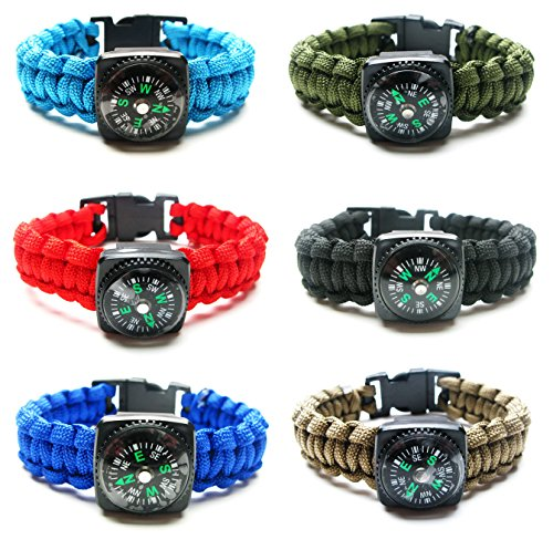 Price comparison product image Compass Paracord Bracelet Set for Men Boys 6 Pack-Solid Survival Emergency Tactical Bracelets Braided with 550 lbs Parachute Cord and Mini Compasses - Men's Outdoor Accessories - Camp Party Favors