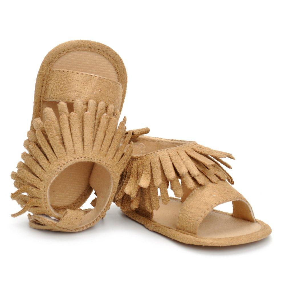 ESTAMICO Baby Girls Tassel Summer Shoes Infant Moccasins Sandals