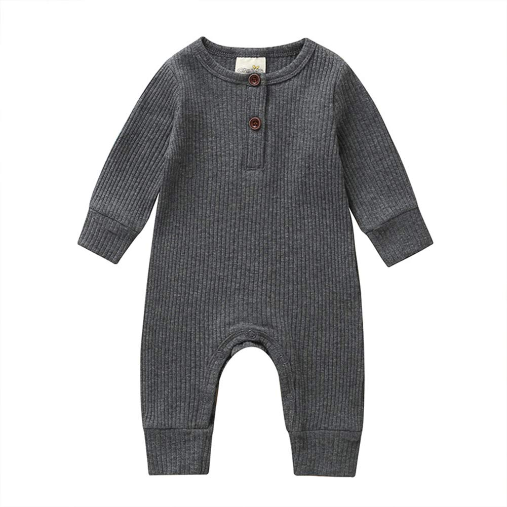 XINXINHAIHE Infant Unisex Babies Long Sleeve Casual Romper Solid Color Cotton Baby Bodysuit