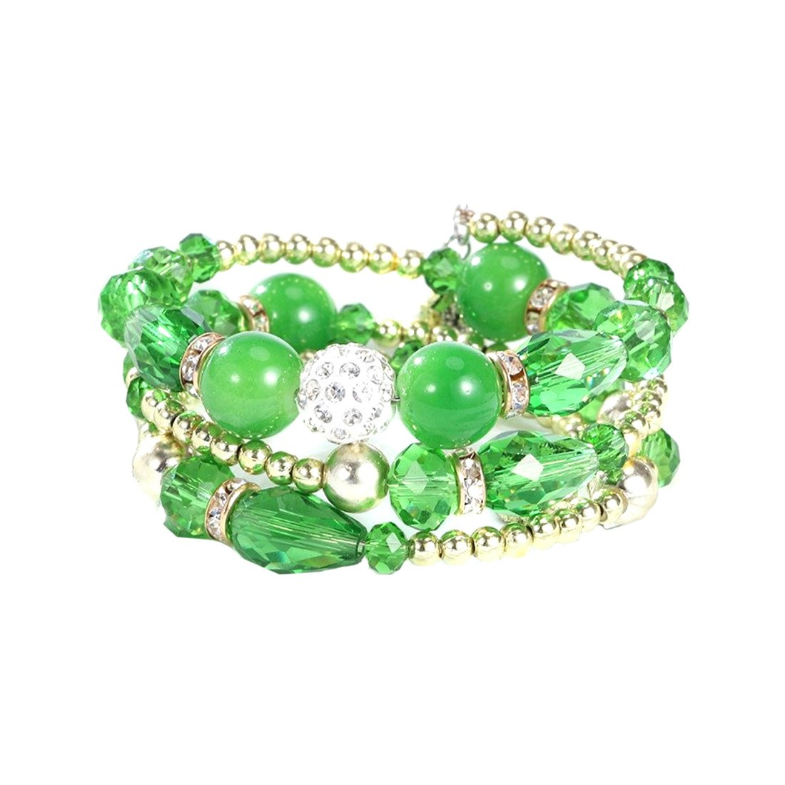 Novadab Multi Layered Crystal Beaded Boho Bracelet For Women, A Valentine Gift For You Love One (Green)