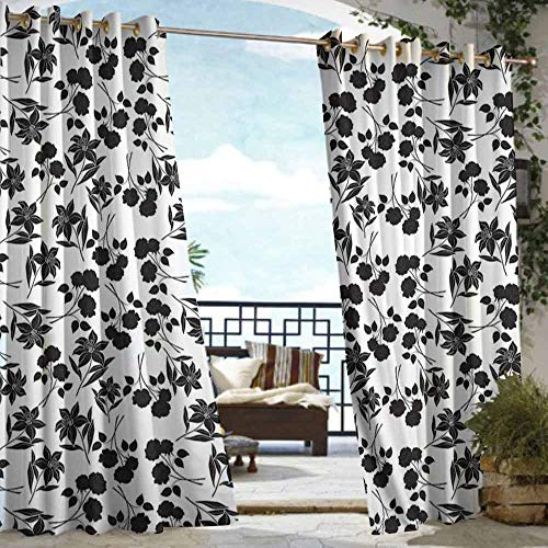 DILITECK Outdoor Curtain Panel for Patio Black and White Romantic Botanical Garden with Rose and Lily Silhouettes Bridal Great for Living Rooms & Bedrooms W72 xL84 Charcoal Grey -