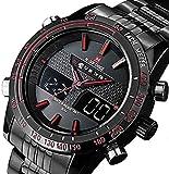 Mens Wristwatch Analog Digital Quartz Watches Mens Steel Waterproof Army Military Sports Watch