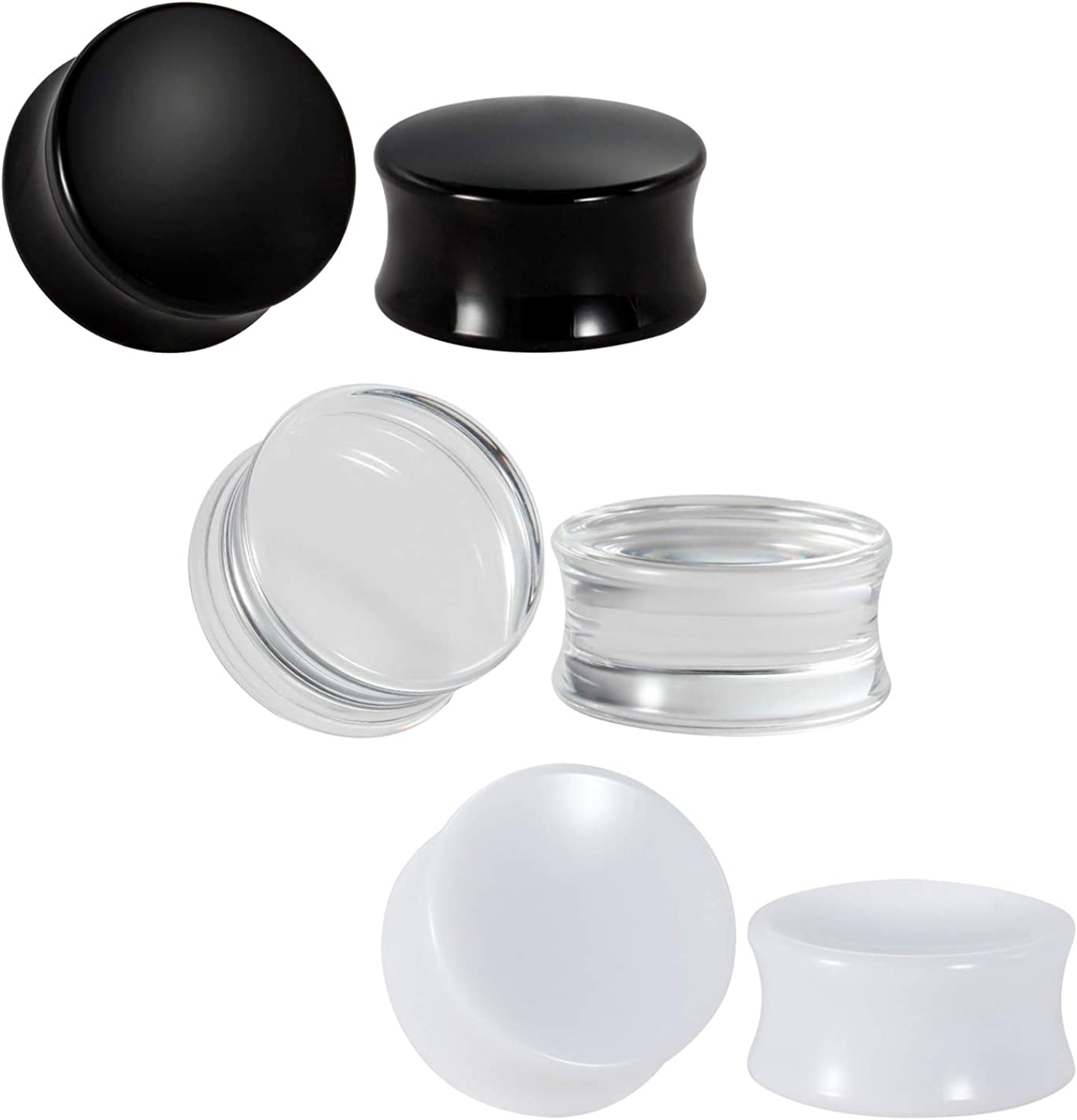 ACRYLIC Ear Plug Easy Fit Stretchers Defenders 3 colours Flesh Tunnel SCREW ON