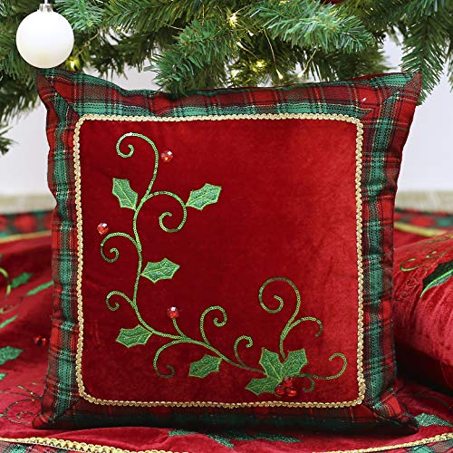 Valery Madelyn Traditional Red Green Christmas Pillow Covers 16x16 with Holly Leaves and Tartan Plaid Border, Themed with Tree Skirt (Not Included)