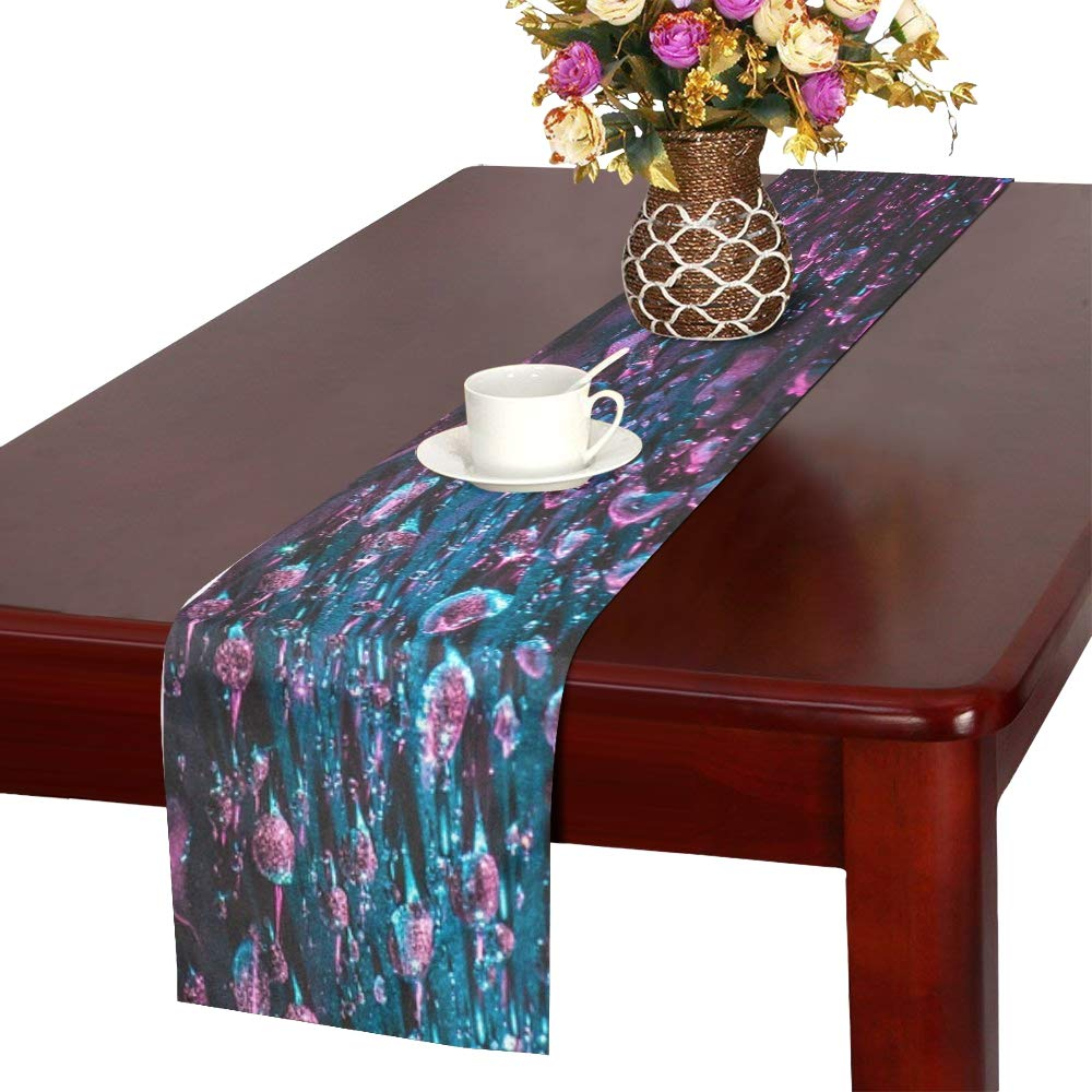 Jnseff Water Color Closeup Drops Of Water Table Runner, Kitchen Dining Table Runner 16 X 72 Inch For Dinner Parties, Events, Decor