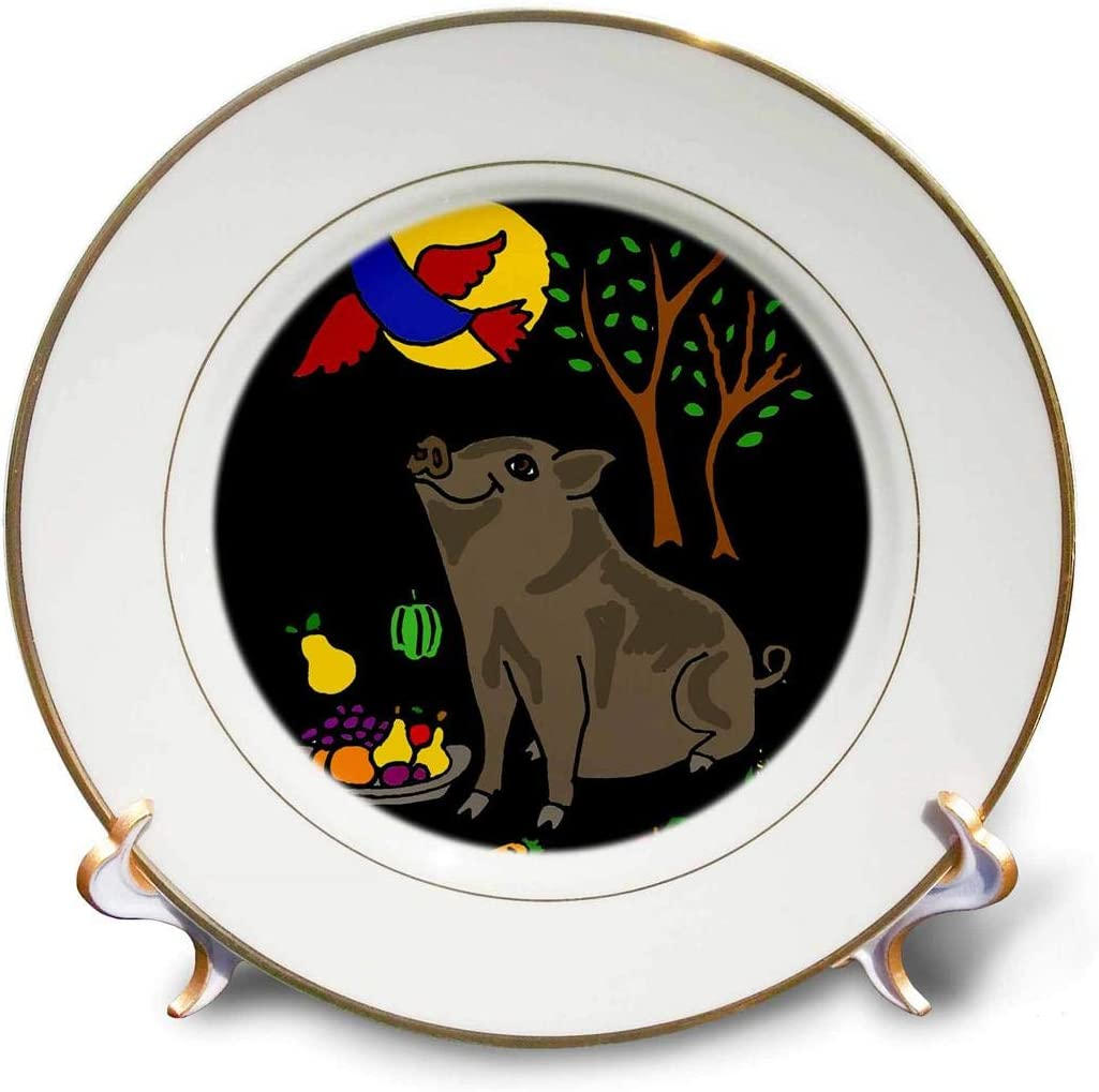 3dRose cp_200566_1 Funny Grey Pot Bellied Pig with Food & Bluebird Overhead Porcelain Plate, 8