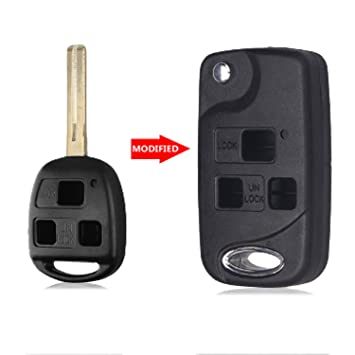 Heart Horse 3 Button Flip Key Fob Remote Case Shell for Lexus IS200 LS400 RX300 GS300 HYQ12BBT, HYQ1512V