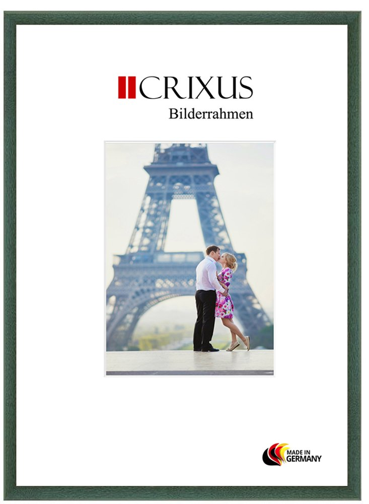 Crixus23 Echtholz Bilderrahmen für 76 x 56 cm Bilder, Farbe  Grün gewischt, Massivholz Rahmen in Maßanfertigung mit Acryl Kunstglas (Bruchsicher) und MDF Rückwand, Rahmen Breite  23mm, Aussenmaß  79,4 x 59,4 cm
